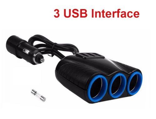 Cigarette lighter adapter 3 normal sockets + 3 USB ports